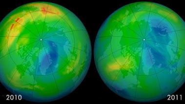 Уровень озонового слоя снизился до минимального значения